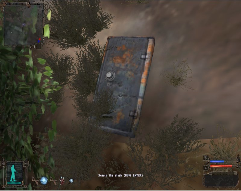 Stash: Under the bush by the wall (Click image or link to go back)