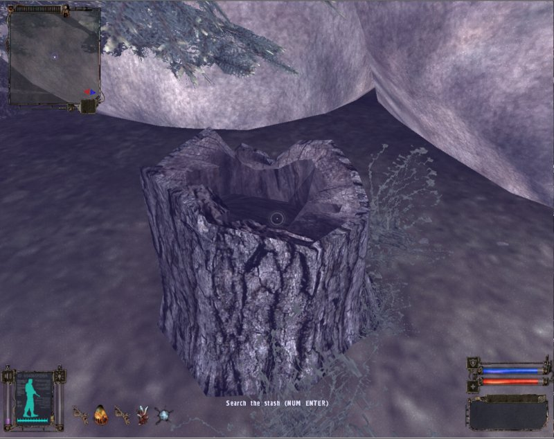 Stash: Secret stash in a stump (Click image or link to go back)